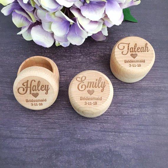 Personalized Wooden Wedding Jewelry Gift Box Custom Bridesmaid Box Flower Girl