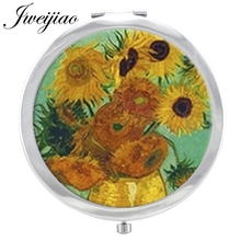 JWEIJIAO Sunflower Blue Sky Makeup Mirror Glass Cabochon flowers Painting Floding Round compact Hand pocket Magnif Mirror espejo