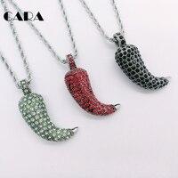 CARA Nueva Negro Rojo Verde cz piedras chilli capsicum pimienta encanto collar de las mujeres de acero Inoxidable 316L collar de moda CARA0540