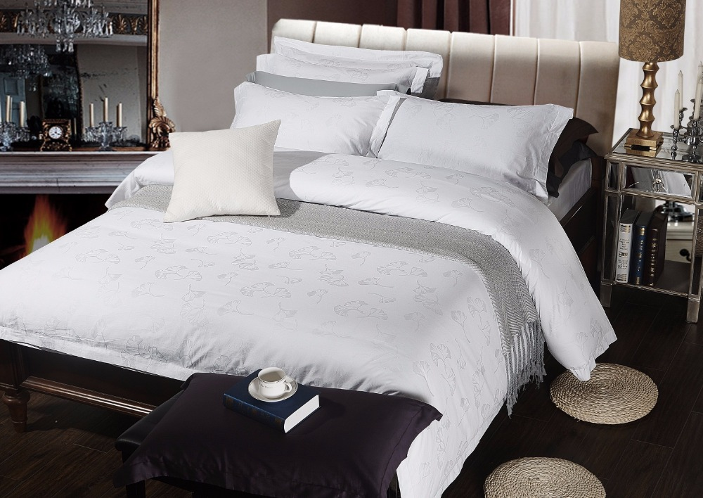 100% Cotton White Hotel Bedding Sets Queen King Jacquard ...