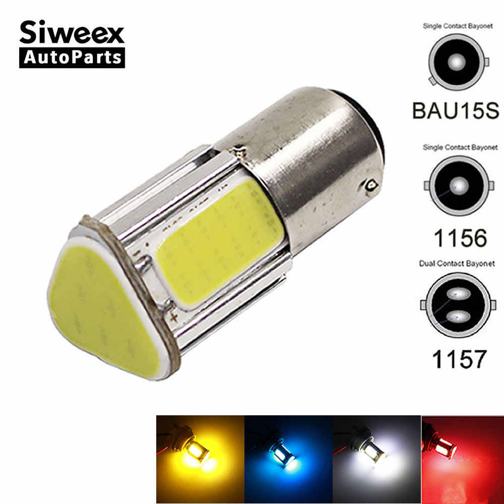 1156 LED Ba15S P21W 1157 BAY15D Bau15s Wedge 4 cob Led Car Light White Brake Reversing Bulb Turn signal DRL Tail Lamp DC 12V