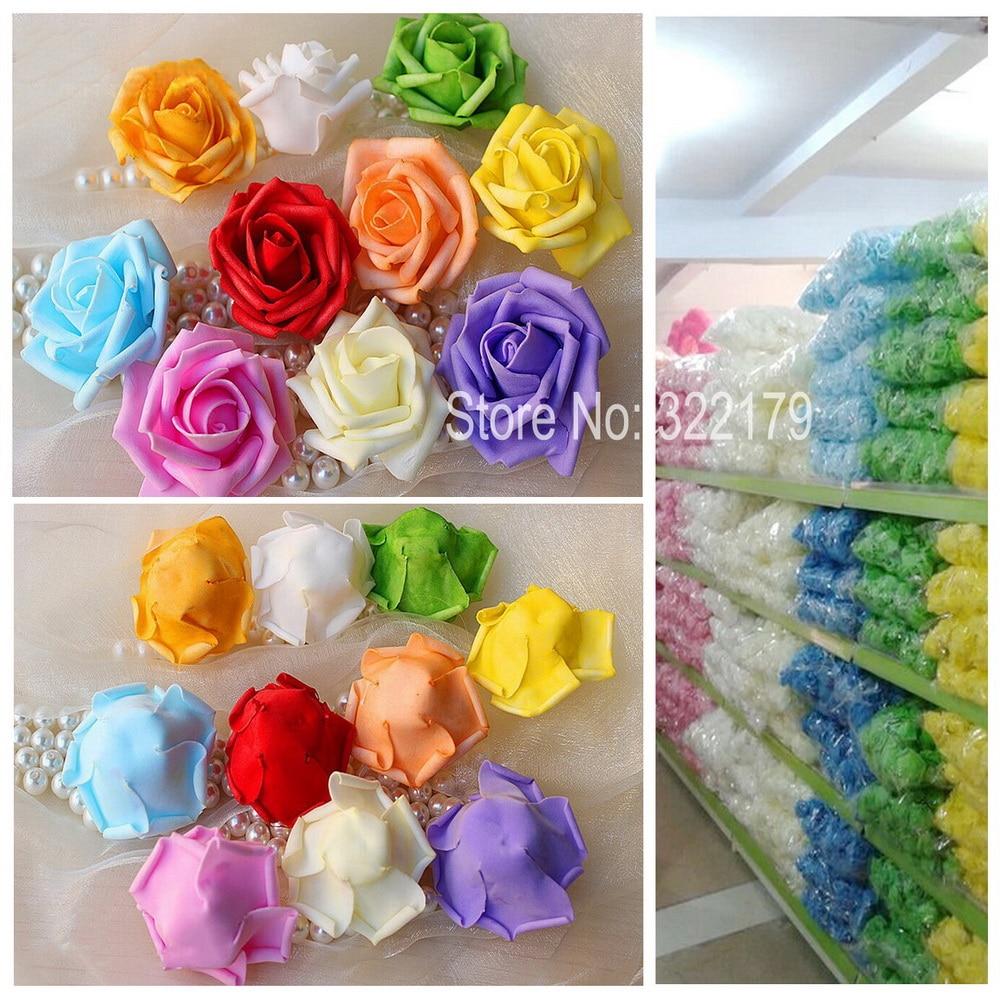 Fake flowers for crafts - 100 Pcs Foam Flower Heads Bulk Cheap Artificial Flowers Diy Crafts Fake Rose Head For Wedding