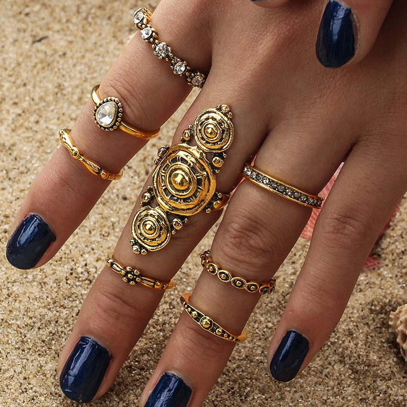 Vintage Silver Color Ring Sets Antique Midi Finger Rings for Women Steampunk Turkish Party Boho Knuckle Ring