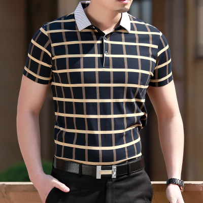 2019 New Summer Polo Homme Men Fashion Short Sleeve Shirts Men's Business Casual Polo Lapel Cotton Breathable Plaid Masculino