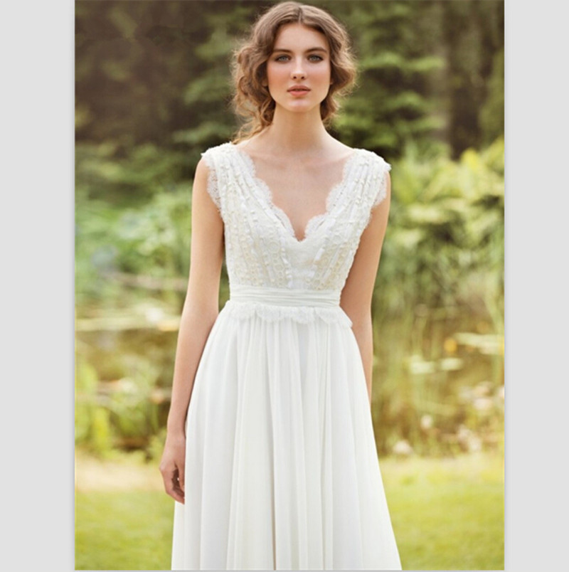 Aliexpress.com : Buy 2015 White Chiffon Wedding Dresses Sexy V ...