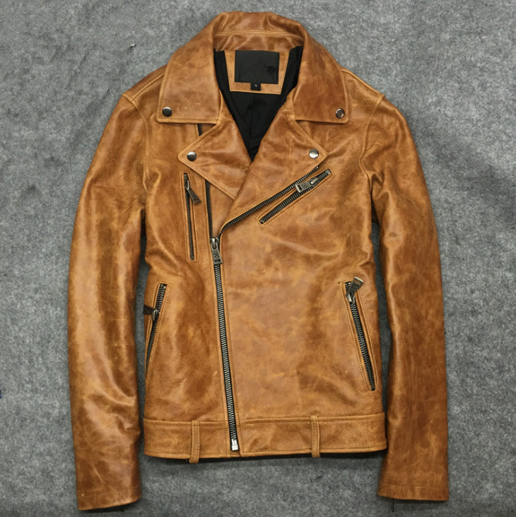Brand New Cow Skin Leather Men ,man's Genuine Leather Jackets,fashion Cow Leather Jackets Men's Biker Jacket