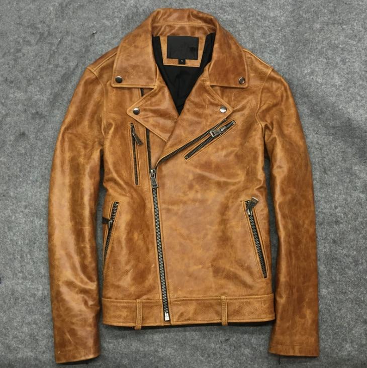 Brand New Cow Skin Leather Men ,man's Genuine Leather Jackets,fashion Cow Leather Jackets Men's Biker Jacket