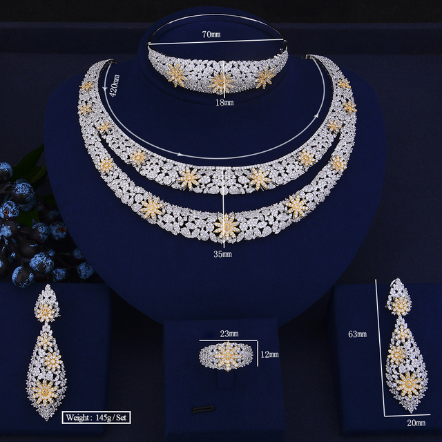 Luxury Double Layers Cubic Zirconia Crystal Jewelry Set 1