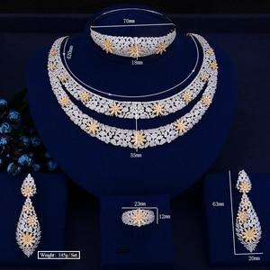 Image 2 - GODKI Luxury Double Layers Nigerian Bridal Jewelry Sets For Women Cubic Zirconia Crystal CZ Dubai Indian Gold  jewelry Sets 2018