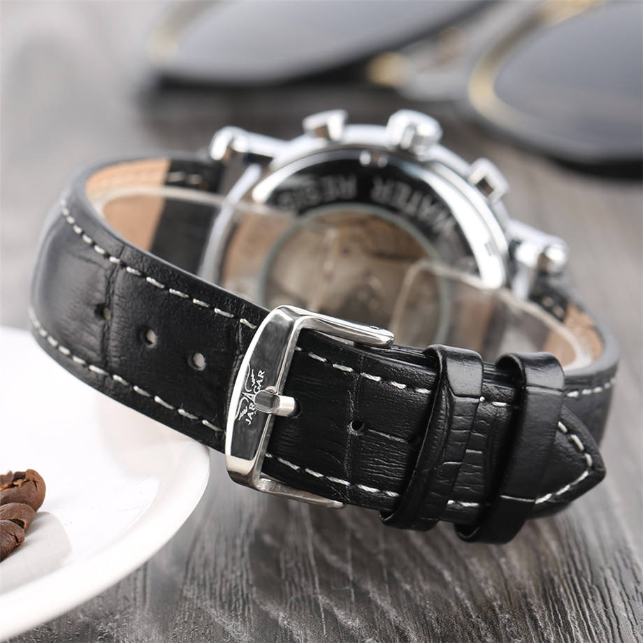 JARAGAR black genuine leather band mechanical watch men10