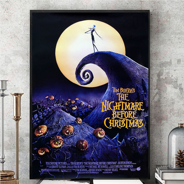 the nightmare before christmas movie poster wall art canvas painting wall pictures for living room kids