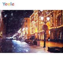 Yeele Winter Night Street Fallen Snow Bedroom Decor Photography Backdrops Personalized Photographic Backgrounds For Photo Studio