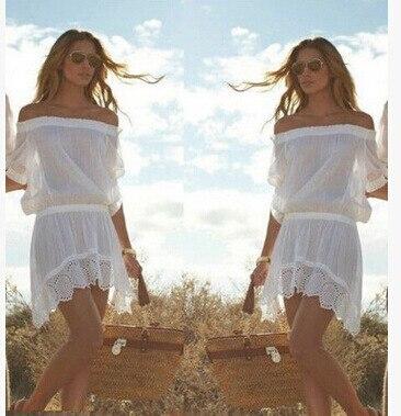 2017 New sexy summer dew shoulder Hollow out the dress Women's Slash neck White Mini Beach paty dress