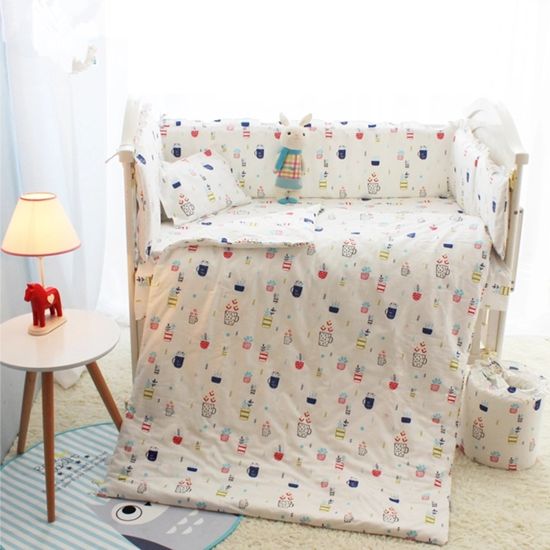 Cartoon Baby Boy Baby Girl Crib Bedding Sets 10Pcs Soft Cotton Children Sleeping Set In a Crib 120*70CM Children's Bed Linen cartoon boy girl design resin desktop decoration
