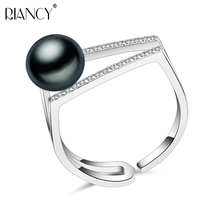 Romantic Natural freshwater 925 sterling silver adjustable pearl Ring Jewelry 9-10mm Women Party/Engagement Free Shipping