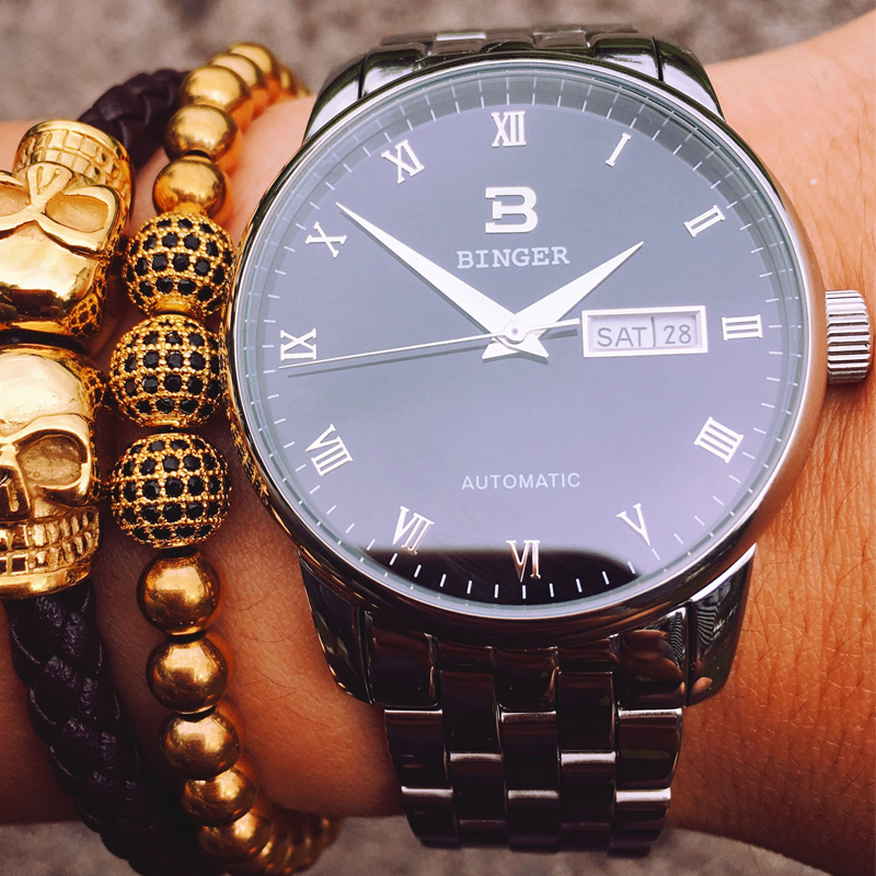 Reloj mecánico automático a prueba de agua de zafiro luminoso de marca superior de lujo de relojes de hombre de Suiza BINGER 2019-in Relojes mecánicos from Relojes de pulsera    1