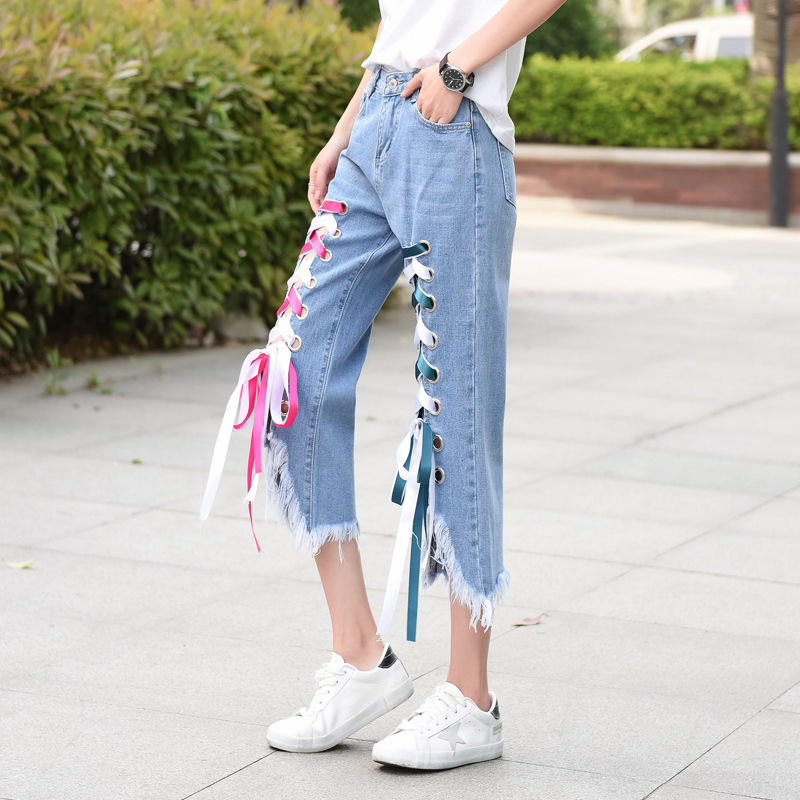 NIBESSER Women High Waist Hole Washed Denim 2017 New Fashion Jeans Female Loose Straight Calf Length Lace Up Tassel Ripped Jeans spring new fashion cotton jeans women loose high waist washed vintage big hole ripped ankle length denim straight pants mz1535