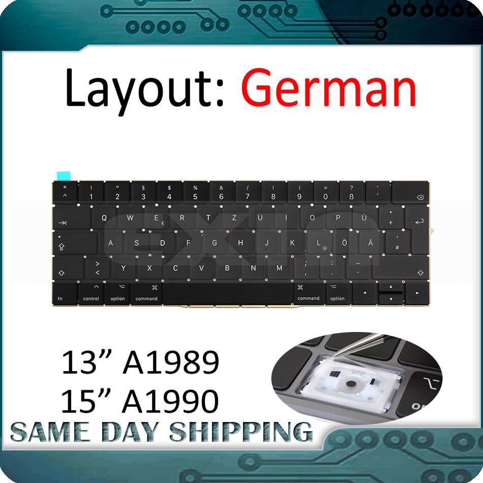 Mid 2018 Year New for MacBook Pro 13 3 Retina A1989 A1990 Keyboard German EU EURO