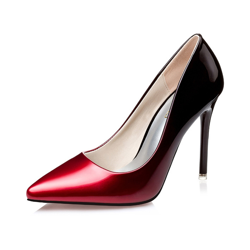 Women Sexy Mixed Colors High Heels Shallow Mouth Patent Pu Stilettos Female Elegant Pointed Toe Thin Pumps Fashion Party Shoes black 2016 wine red navy blue cashmere genuine leather round toe shallow mouth ultra high heels female boots female