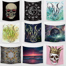 Hot sale fashion large skull skeleton elephant stars sky pattern rectangle wall hanging tapestry home decoration wall tapestry