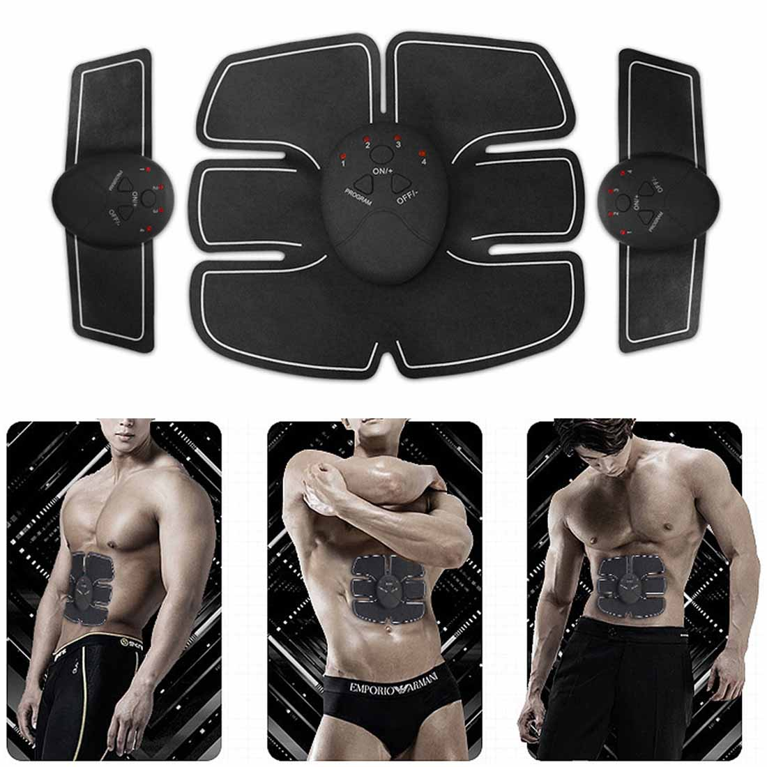 7Pcs/Set New EMS Stimulation Power Abdominal Muscle Trainer Fitness Vibration Plate Slim Body Loss Weight Massager