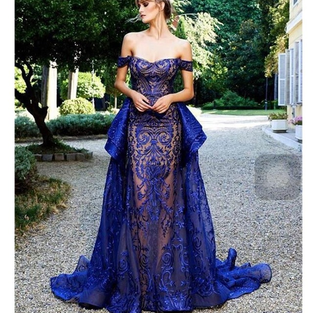 Prom Dress With Detachable Train: Luxury Elegant Embroidery See Layout Evening Dresses 2017