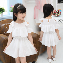 Girls' cotton dress Princess Dress 2016 shoulder summer snow romance female children's