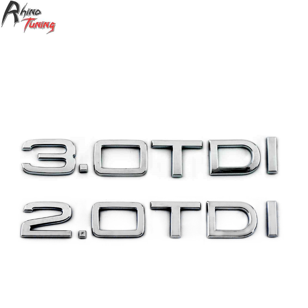 Rhino Tuning 2.0 3.0 TDI Car Tailgate Emblem Silver Auto Styling Boot Trunk Badge ABS Sticker For Q5 A6 A4 Q3 800 tailgate rear trunk badge sticker eco diesel chrome auto emblem car sticker nameplate badge for jeep grand cherokee