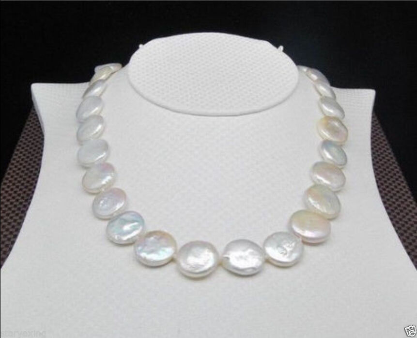 Hot Huge AAA 14-15mm south sea white coin pearl necklace 925silver GOLD CLASP huge elegant 15 mm freshwater black pearl necklace 18 inch 925silver clasp