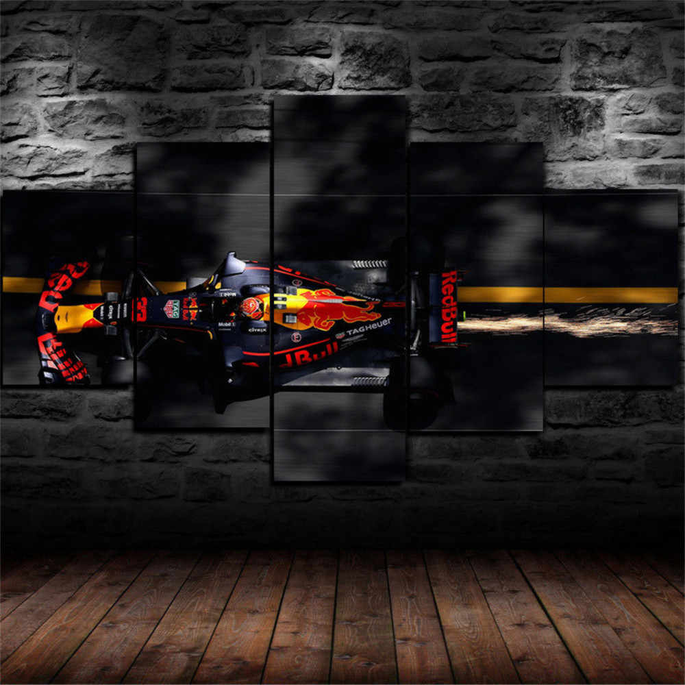 F1 Red Bull Racing 5P Schilderijen Canvas HD Abstract Canvas Schilderij Office Wall Art Home Decor foto's