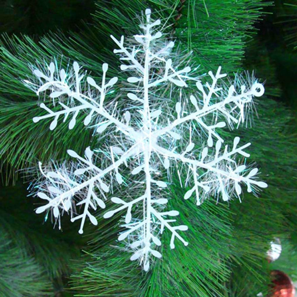 Snowflake christmas ornaments bulk - 30pcs Kits Christmas Tree White Snowflake Charms Holiday Party Festival Ornaments Decor Bulk Snow Christmas