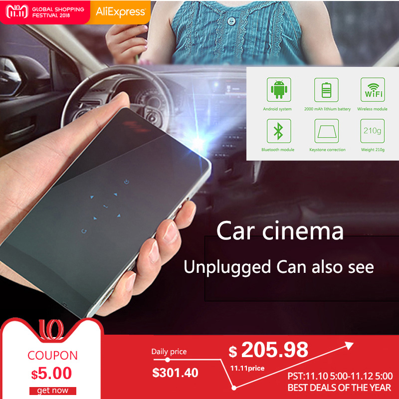 WIFI 3000MAh Battery mini LED Projector 3000Lumen Android 3D Bluetooth DLP Portable Projector Home Theater 1080P USB SD Touch aao dlp projector s1 mini portable multi screen sync wired display projector 1080p hd dlp led 5200 mah battery pico 3d projector