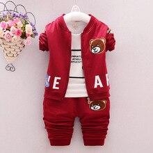 New 2016 Children's Clothing Kids Autumn Winter Clothes Boys Clothing Set Cartoon Bear jacket+T-Shirt+Pants 3Pcs Boys Sportswear