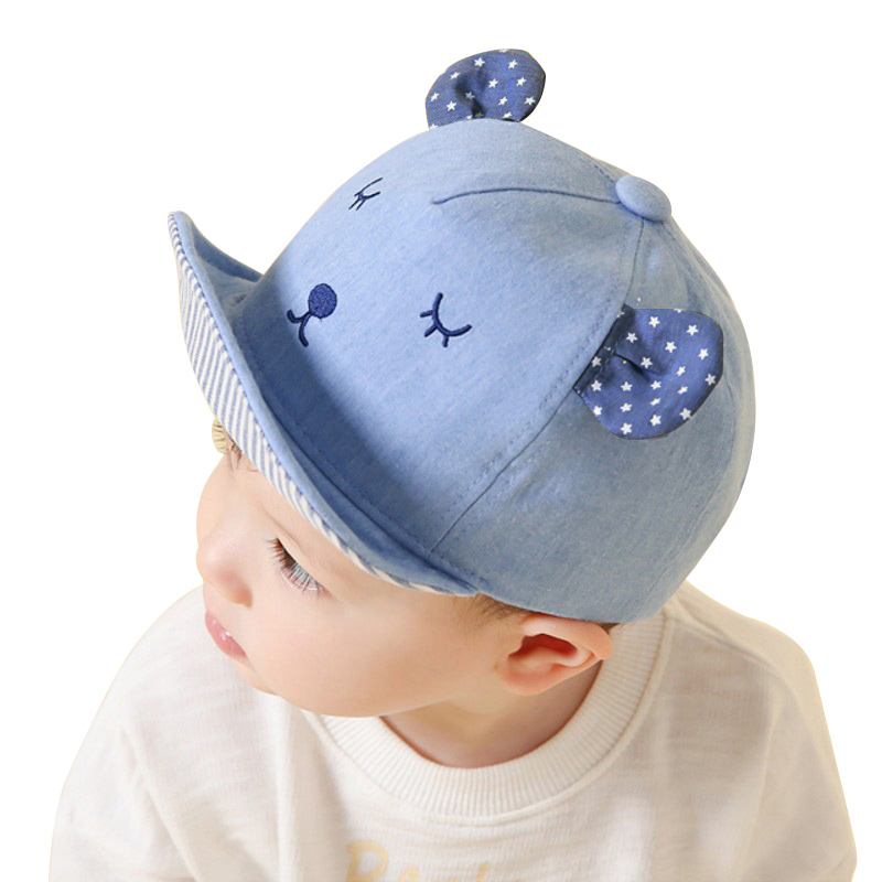 3c645e15c1d Online Shop Cute Embroidery Baby Baseball Hat Boy Girls Cotton Baby Hat Ears  With Star Baby Girl Cap Blue Baby Caps For Boys Spring Summer