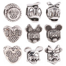dodocharms Silver Color Beads Pendant Charms Fit Pandora Bracelet Bangle Heart Angelic Feathers Wing Minnie Mickey DIY Jewelry(China)