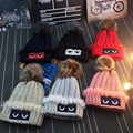 CN-RUBR 2016 New Fashion Woman's Warm Woolen Winter Hat Knitted Fur Cap For Woman Lovely Eyes Skullies Beanies Thick Wool Hat