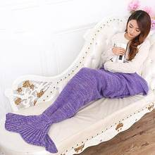 2019Acrylic Fibers Knitting Fish Mermaid Tail Blanket Shape Handmade Sofa Bed Sleeping Bag Quilt Blanket for Living Room Bedroom(China)