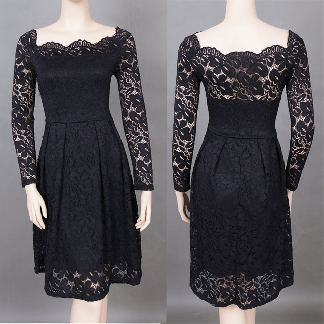 Long sleeve blue plus size crochet dress