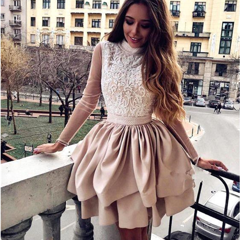 Vestidos De Gala Sexy Beaded Open Back   Prom     Dresses   2019 High Neck Long Sleeve Tiered   Prom   Gowns Lace Evening Party   Dresses