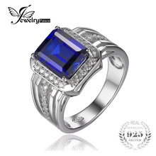 Jewelrypalace 4.6ct Lujo Creado Azul Zafiro de La Boda y Anillo de Compromiso Para Los Hombres Genuinos 925 Astilla Esterlina Joyería Fina