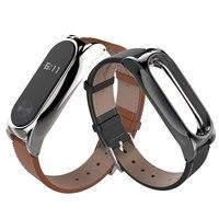 Original Mijobs Leather Strap For Xiaomi Mi Band 2 Wristband Screwless Bracelet For Miband 2 Smart