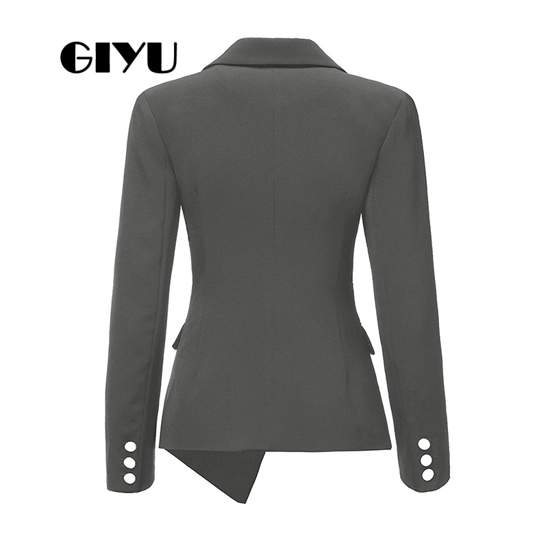 GIYU Asymmetry Women Long Sleeve Blazer Business Jackets Pockets Office Lady Buttons Casual Camiseta Mujer