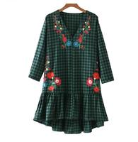 JOYINPARTY V neck Ruffled floral embroidery dresses in a checkered floral pattern Vintage chic casual loose mini Vestidos Mujer