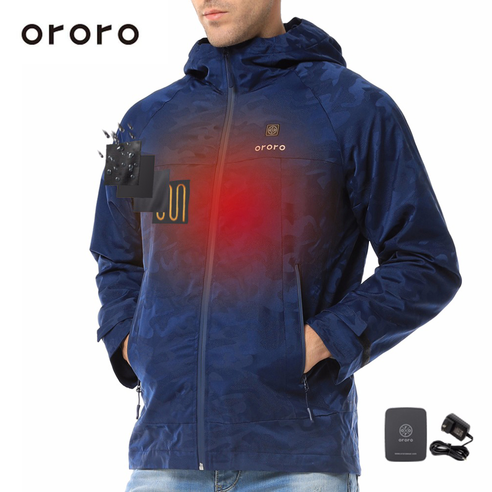 c94df6b7a ORORO Unisex Camo Print Heated Jacket with Hood Outerwear Waterproof ...