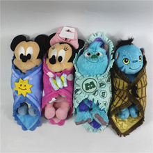 1pcs 25cm Cute Babies Baby Mickey Minnie mouse Sulley Monster with Blanket Plush Toy Doll Children
