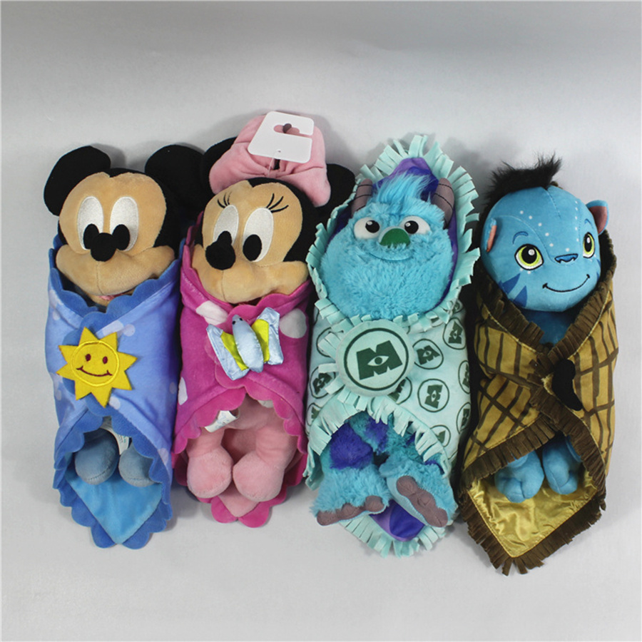 1pcs 25cm Cute Babies Baby Mickey Minnie mouse Sulley Monster with Blanket Plush Toy font b