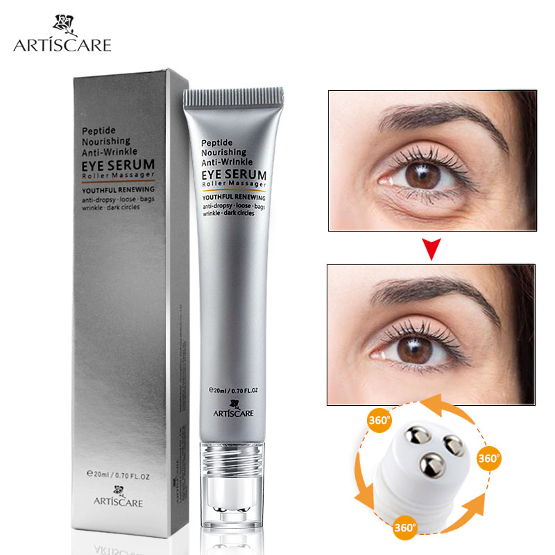 ARTISCARE Peptide Anti Wrinkle Eye Serum Roller Massager Skin Care Anti-Puffiness Fine Lines and Remove Dark Circles Eye Cream wholesale and retail anti wrinkle eye cream 30ml pcs