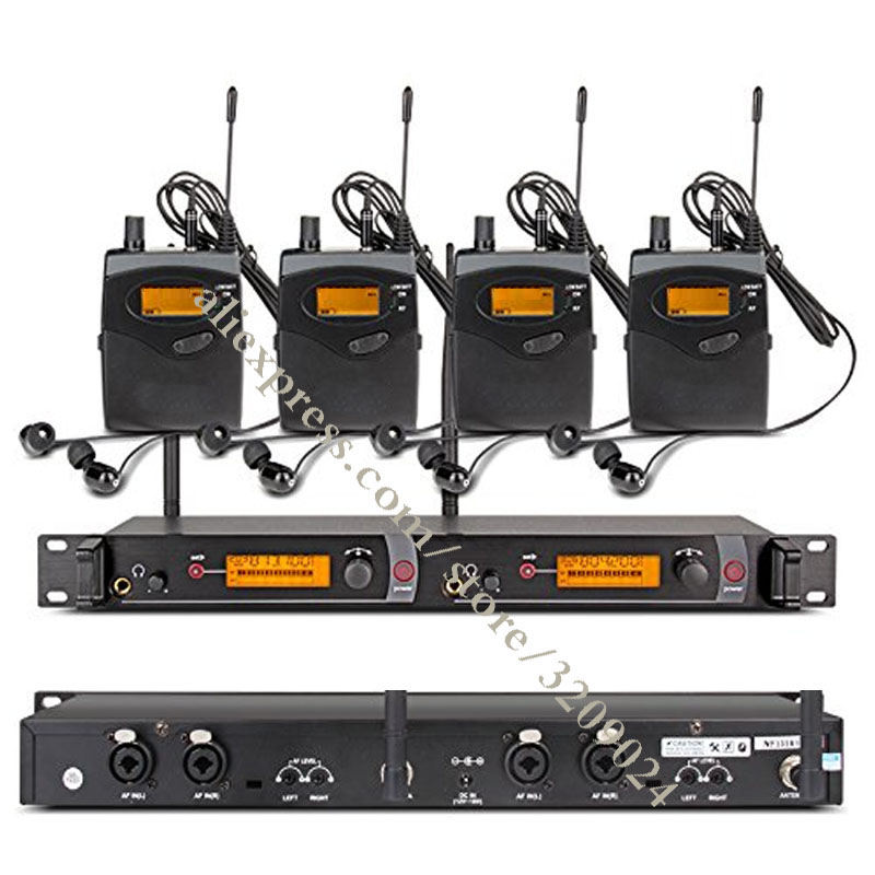 In Ear Monitor System 2 Channel 4 Bodypack Transmitter Monitoring with In Earphone Wireless for Stage