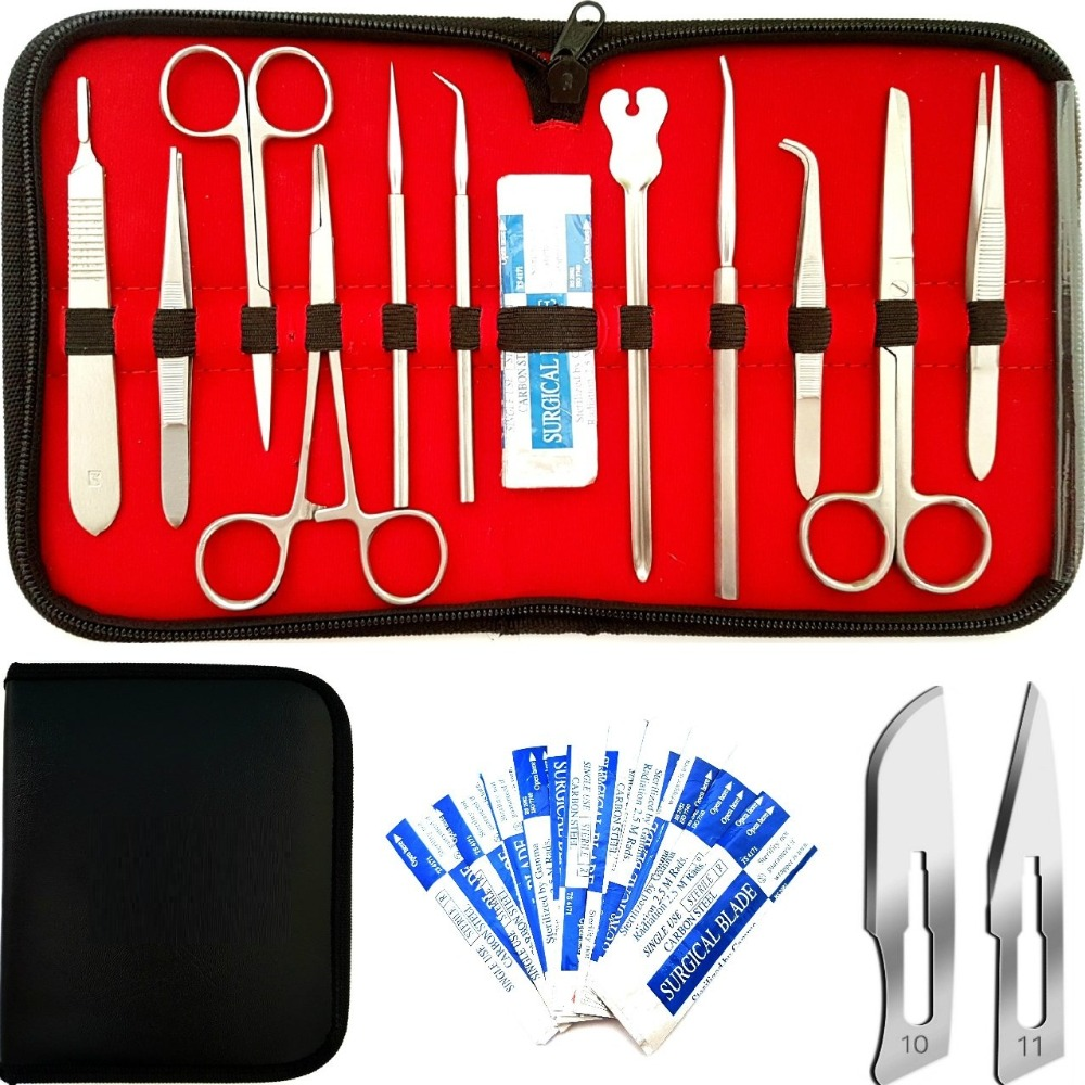 22 Pcs Advanced Dissection Kit For Anatomy Biology Medical Student Kit With Scalpel Knife Handle - 11 Blades - Case-Lab Veter