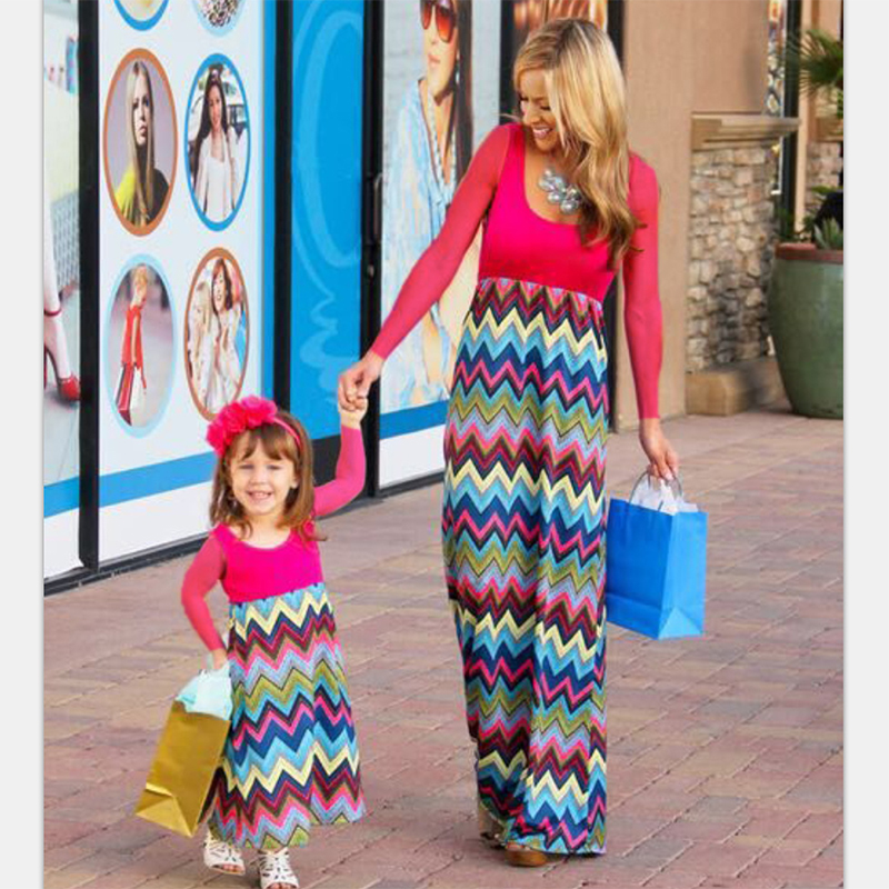 New Mother daughter dresses family look long dress for mother and child long sleeve family matching outfits mommy and me clothes